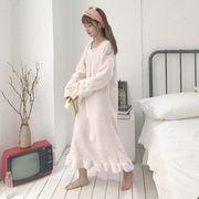 秋冬 新しいデザイン スウィート 長袖 ホーム ナイトドレス 韓国風 ルース 手厚い 中