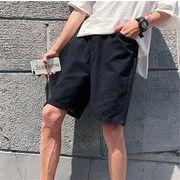 メンズ 夏 ズボン ファッション ワイドパンツ 百掛け ショートパンツブラック