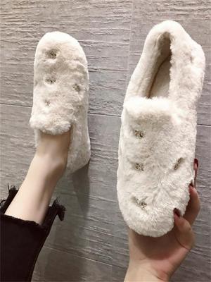 ウサギ 裏起毛 靴 冬 新しいデザイン 韓国風 コットンスクープ靴 厚底 ピーズ靴 女