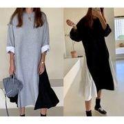 2色 韓国ファッション 長袖ワンピース フリル 切り替え 体型カバー 着痩せ シンプル カジュアル