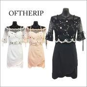 フラワー刺繍スカラップドレス