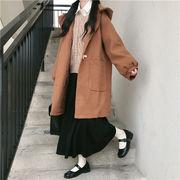 冬 ホーンバックル 厚手 エレガント ウールコート ビッグポケット 中・長セクション カレッジ風 コート