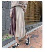 ベロアプリーツスカート配色プリーツ ウエストゴム ロングスカートファッション レディースベージュ