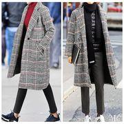 【即納 731380 大きいサイズ 韓国 レディース ファッション コート 裹里有 チェック柄 3L4L5L6L