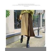ベロアプリーツスカート配色プリーツ ウエストゴム ロングスカートファッション レディースグリーン