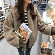 韓国ファッション もこもこMA-1 リバーシブルジャケット