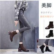 【海外買付】レディース 靴ショートブーツ 5センチヒール 秋冬 ヒール 安定感 美脚裏起毛