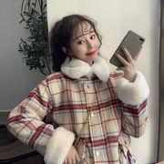 冬 新しいデザイン 韓国風 ルース 手厚い チェック柄ウールコート 女 何でも似合う ア
