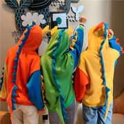 レディーストップス 厚手長袖パーカー ステッチカラー 恐竜フード付きお揃いカップルコート秋冬新品