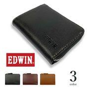 【全3色】EDWIN エドウイン リアルレザー ラウンドファスナー コインケース 小銭入れ 財布