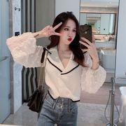 ニッティング シャツ 女 秋服 韓国風 新しいデザイン ファッション 西洋風 大 ラペル