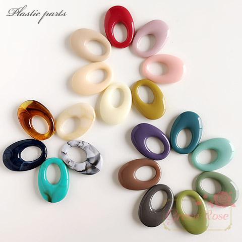 大人カラーのオーバルリングパーツ 全21色 10個 /YM1-1141