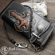 Red Desire 本革×パイソン50centコインコンチョバイカーズウォレット  RD-1
