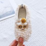 冬 新しいデザイン 裏起毛 女児 ふわふわ ピーズ靴 赤ちゃん 王女 ソフト底のスクープ