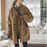 YUNOHAMIコートアウター 長袖 スーツの襟 ウールコートカーディガン フード付 韓国ファション 秋冬