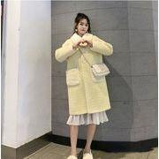 YUNOHAMIコートアウター 長袖 ラペル 切り替え牛角ボタン 中長スタイル コート ミンクカシミア 秋冬