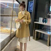 YUNOHAMIコートアウター 韓国ファッション 長袖 スーツの襟 ウールコート 中長スタイル ポップ 秋冬即納