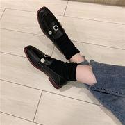 靴 女靴 春 新しいデザイン スクエアヘッド ローファー フラット 小さな靴 女性英国ス