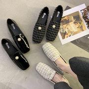 靴 女靴 春 新しいデザイン 何でも似合う スクエアヘッド ピーズ靴 フラット ネット