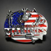 ベルトバックル 星条旗 アメリカ海兵隊 ライフル