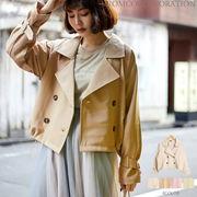 【2020春物新作♪】TPU平織 裾ドロストショートトレンチコート