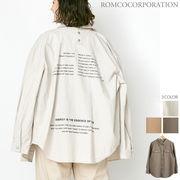 【予約販売】COTTON LINEN/後ろドット釦 バックプリントオーバーサイズシャツ【売れ筋追加♪】