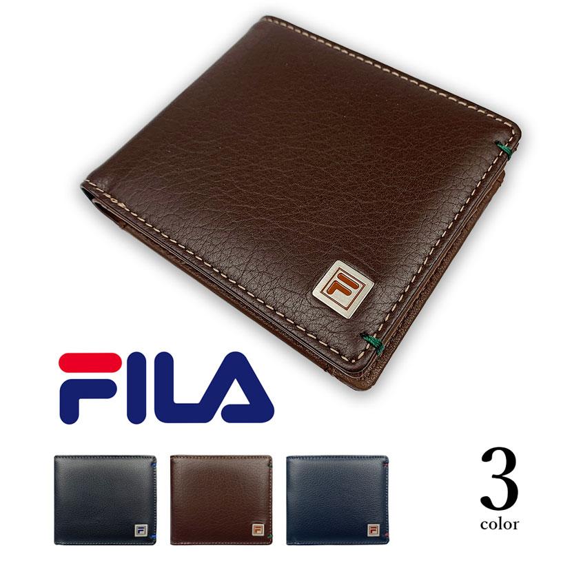 全3色 FILA(フィラ)リアルレザー バイカラー 二つ折り財布 ショートウォレット 牛革