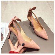 レディースファッション うさぎ靴女性ハイヒール 韓国スタイルゴム底先頭細いヒール 学院風靴春夏秋冬