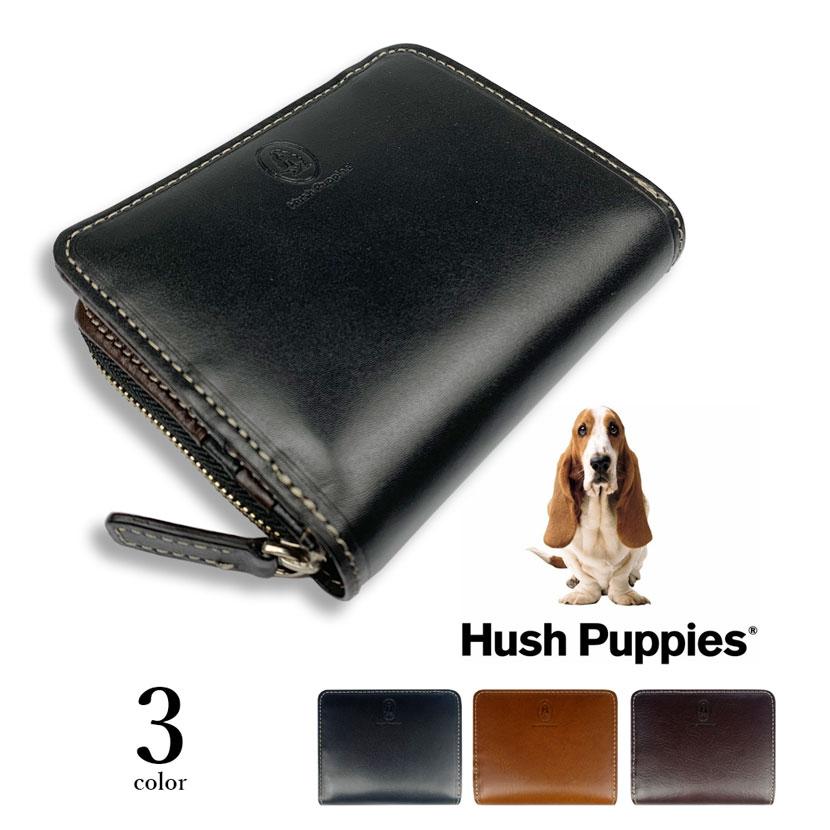 全3色 Hush Puppies ハッシュパピー リアルレザー 二つ折り財布 ショートウォレット ラウンドファスナー