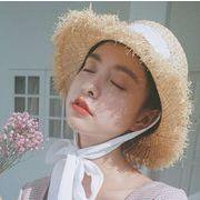 新作 ハット 麦わら帽子 リボン UV 日焼け止め フランス風 レディースファッション