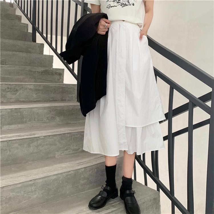 2020年春物新作 レディース ミモレ丈 シャツ素材を使用したアシンメトリースカート