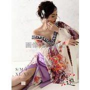【流遊】大きいサイズ完備!!華やか和柄シフォン着物ドレス キャバクラ花魁ロングドレス*500570