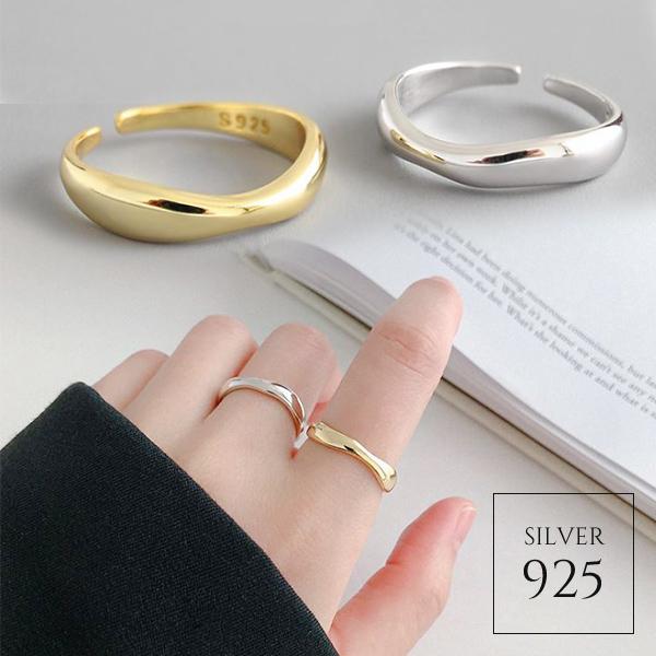 【即納】★2020春夏新作★全2色 シルバー925 シンプルウェーブデザインオープンリング指輪 [kgf0722]