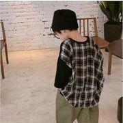上着 五分袖 チェック Tシャツ キッズ トップス 韓国子供服 2020新作 SALE ファッション m14696
