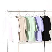 【2020春夏新作】ユニセックス ポンチ生地 裾スピンドル 半袖Tシャツ