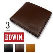 【全3色】EDWIN エドウイン リアルレザー 二つ折り財布 ショートウォレット フラップポケット