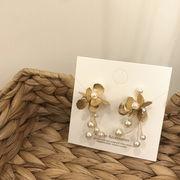 韓国風 レディース ピアス イアリング 高級感 花模様 タッセル