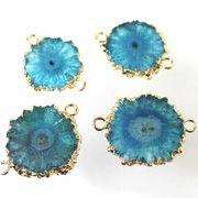 デコパーツ ドゥルージー ソーラークォーツ 瑪瑙 メノウ めのう 水晶 ブルー 青 品番:3712