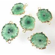 デコパーツ ドゥルージー ソーラークォーツ 瑪瑙 メノウ めのう 水晶 グリーン 緑 品番:6067