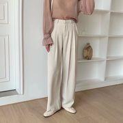 ピンタック ワイドパンツ レディース ボトムス ハイウエスト 韓国ファッション