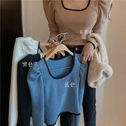 ニット 女 早春 新しいデザイン アンティーク調 ヒットカラー 襟 着やせ ボトムシャツ