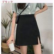ハイウエスト 裾 春服 新しいデザイン 韓国風 ブラックスプリットスカート 女 着やせ