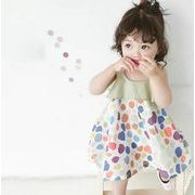 2020春夏新作 キッズワンピース 袖なし 水玉 ドット 女の子 子供服 夏 韓国ファッション