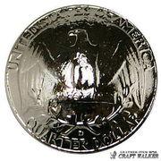 【レプリカ】コインコンチョ◆ワシントンイーグル 25セント◆光沢シルバー色◆23mm◆