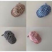 春夏帽子 子供帽子 ハット 防UV 可愛い帽子 子供向け チェック 紫外線カット 紫外線対策