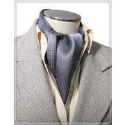 エレガントな袋縫いプリント柄入りメンズ用100%シルクスカーフ 10144