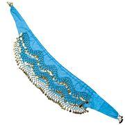 ベリーダンス ヒップスカーフ 150コイン - 水色