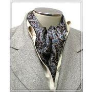 エレガントな袋縫いプリント柄入りメンズ用100%シルクスカーフ 10143a
