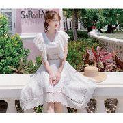 レディースファッション フリル袖 裾不規則 オシャレワンピース 夏