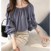 韓国ファッション新品 おしゃれ シーフォンバルーン袖トップス ブラウス レディース 春秋 3色
